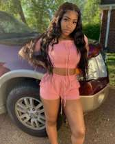 Solid Short Sleeve Crop Top And Shorts 2 Piece Sets MNKF-8013
