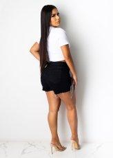 Fashion Sexy Black Rhinestone Tassels Denim Shorts ME-Y859