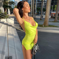Solid Color Sexy Backless Slit Slim Club Dress ME-S875