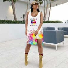 Lip Ink Jet Print Sleeveless Top And Shorts 2 Piece Sets KYF-3082