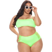Sexy Plus Size Solid Color Sling Hollow Swimsuit Two Piece Set CQ-123