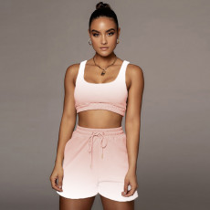 Gradient Casual Fitness Tank Top Shorts 2 Piece Suits LQ-036