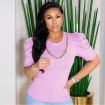 Solid Puff Sleeve Pearls Chain T Shirt CYA-9039