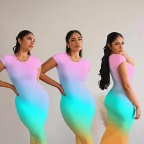 Gradient Fashion Sexy Round Neck Short Sleeve Long Dress SGXF-6016
