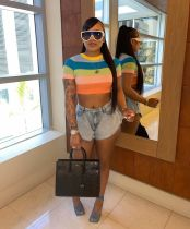 Colorful Striped Short Sleeve O Neck Cropped T Shirt YJF-8388