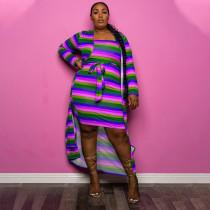 Plus Size Striped Long Colak+Tube Dress 2 Piece Sets YUHF-80786