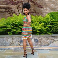 Wave Stripe Sleeveless Spaghetti Strap Mini Dress WSYF-5879