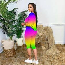 Plus Size Pink Letter Print Gradient Two Piece Sets OMMF-1563