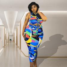Plus Size Geometric Print Sleeveless Long Skirt 2 Piece Sets CTHF-9079
