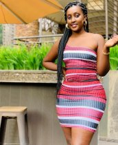 Sexy Striped One Shoulder Sleeveless Mini Dress OMMF-1322