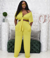 Plus Size Solid Short Sleeve Tie-Up 2 Piece Pants Set OMMF-1890