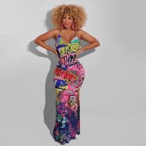 Plus Size Sexy Printed Cross Straps Split Maxi Dress WLDF-80278
