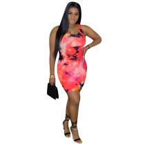 Tie Dye Print Sleeveless Slim Mini Dress OMMF-1846