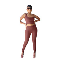 Solid One Shoulder Sleeveless 2 Piece Pants Set SMXF-9171