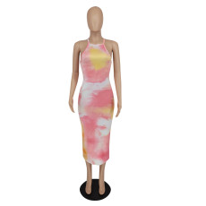 Tie Dye Print Backless Cross Strap Split Midi Dress XINF-60013