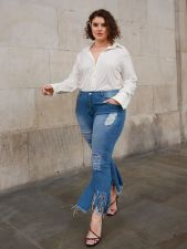 Plus Size Denim Ripped Hole Flared Jeans HSF-2405