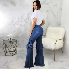 Plus Size Denim Ruffled Flared Jeans HSF-2406