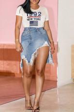 Plus Size Denim Ripped Irregular Skirt HSF-2538