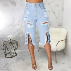Plus Size Denim Ripped Hole Tassel High Waist Half Length Jeans HSF-2516