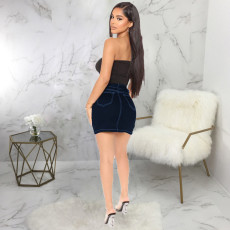Plus Size Denim Bodycon Mini Skirt HSF-2546