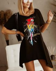 Casual Loose Printed O Neck Irregular Dress ML-7445