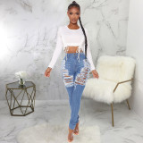Denim Ripped Hole Skinny Jeans Pencil Pants HSF-2457