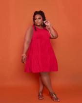 Plus Size Solid High Waist Sleeveless Dress YSYF-7523-1