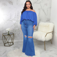 Plus Size Denim Ripped Hole Flared Jeans HSF-2302