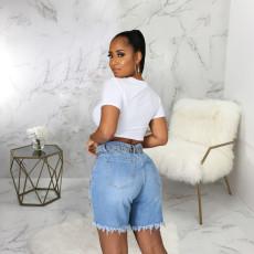 Plus Size Denim High Waist Ripped Hole Jeans Shorts HSF-2473-1