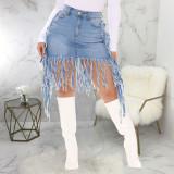 Denim Tassel High Waist Mini Skirt HSF-2416