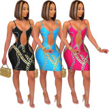 Fashion Sexy Hollow Print Spaghetti Strap Dress ZLF-851