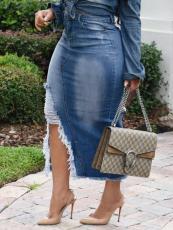 Plus Size Denim Ripped Bodycon Long Skirt HSF-2537