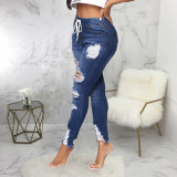 Denim Ripped Hole Skinny Jeans Pants HSF-2446