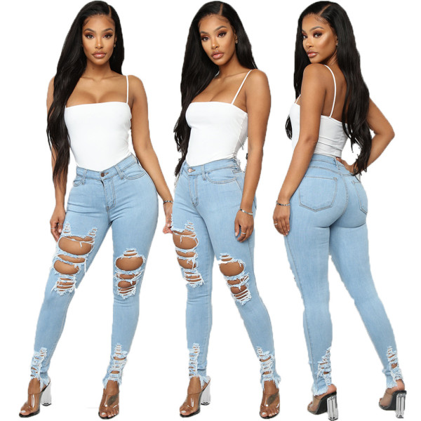 Denim Ripped Hole Skinny Jeans Pencil Pants HSF-2458