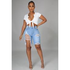 Denim Ripped Hole High Waist Jeans Shorts HSF-2473