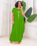 Fashion Solid Color Print Pocket Short Sleeve Long Dress WSM-5255
