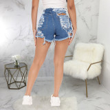 Plus Size Denim Patchwork Ripped Hole Jeans Shorts HSF-2470