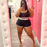 Plus Size Printed Fashion Casual Sports Two Piece Sets WAF-77213