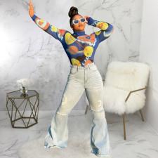 Plus Size Denim High Waist Skinny Flared Jeans HSF-2490