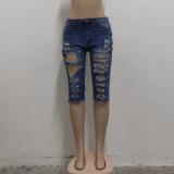 Plus Size Denim Ripped Hole High Waist Half Length Jeans HSF-2515