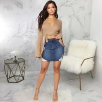 Plus Size Denim Ripped Bodycon Mini Skirt HSF-2548