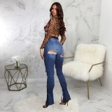 Plus Size Denim Ripped Hole Skinny Jeans Pants Without Belt HSF-2534