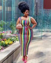 Plus Size Fashion Sexy Striped Print Dress YFS-10009