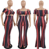 Print Tube Top Short Sleeve Sling Flared Pants Two Piece Sets (Without Mask) XYMF-88071