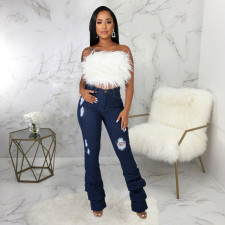 Plus Size Denim Ripped Hole Skinny Pile Jeans HSF-2435