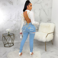Denim Ripped Hole Skinny Jeans Pencil Pants HSF-2559