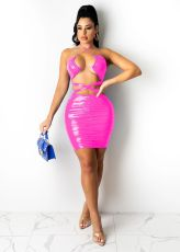 Sexy PU Leather Halter Hollow Out Club Dress BS-1273