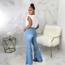 Plus Size Denim Ripped Hole Tassel Flared Jeans HSF-2503