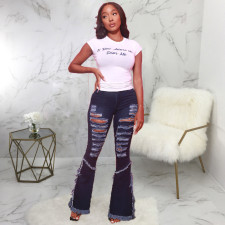 Plus Size Denim Ripped Hole Flared Jeans HSF-2437