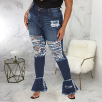 Plus Size Fat MM Denim Ripped Hole Flared Jeans Pants HSF-2563